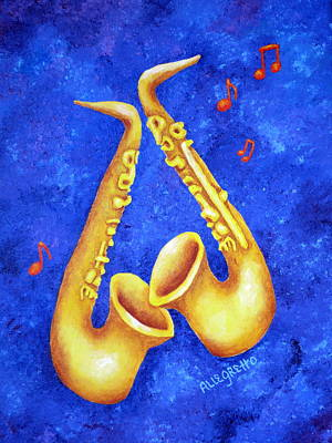 Saxophone Player Painting - Sax Sex by Pamela Allegretto