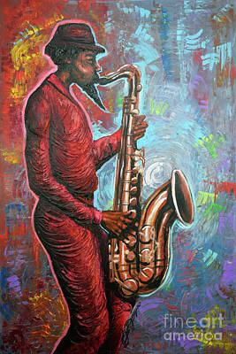 Saxaphone Painting - Saxin That Tune by The Art of DionJa'Y