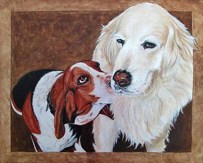 Basset Hound Painting - Saxon And Pumpkin by Twyla Francois