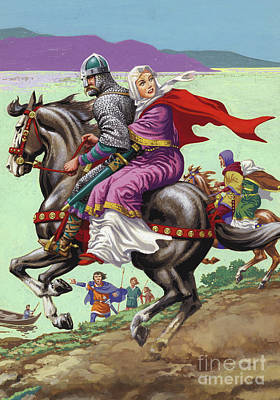 Damsel In Distress Painting - Saxon Princess Margaret Escapes With Her Family From The Clutches Of William The Conqueror  by Pat Nicolle