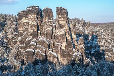 Photograph - Saxon Switzerland Snowy Rocks by Jenny Rainbow