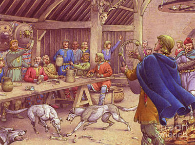Meal Painting - Saxons Carousing  by Pat Nicolle