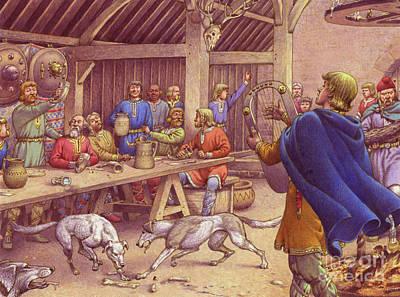 Saxons Carousing  Art Print by Pat Nicolle
