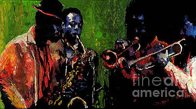 Musicians Painting - Saxophon Players. by Yuriy  Shevchuk