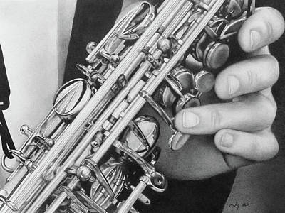 Drawing - Saxophone by Becky West