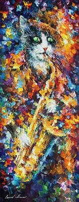 Saxophone Cat   Art Print by Leonid Afremov