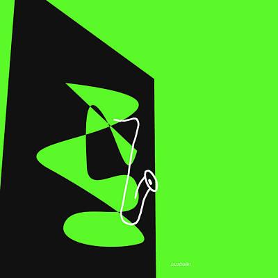 Digital Art - Saxophone In Green by David Bridburg
