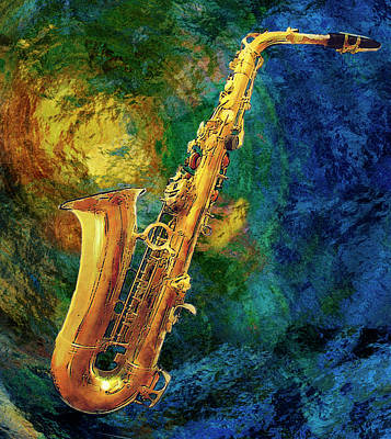 Abstract Digital Art Mixed Media - Saxophone by Jack Zulli