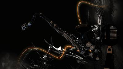 Digital Art - Saxophone Jazz by Louis Ferreira