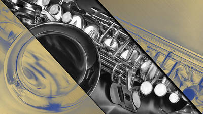 Saxophone Musical Collection Print by Marvin Blaine