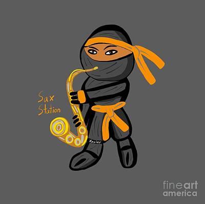 Digital Art - Saxophone Ninja by Neal Battaglia