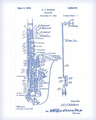 Painting - Saxophone Patent Drawing by Gary Grayson