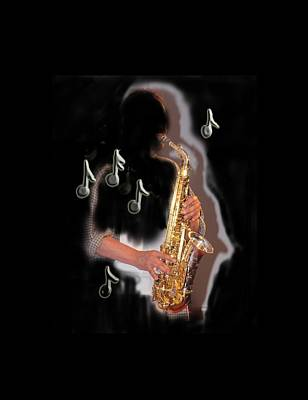Photograph - Saxophone Player Abstract  by Tom Conway