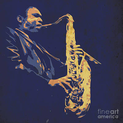 Music Player Drawing - Saxophone Player  by Pablo Franchi