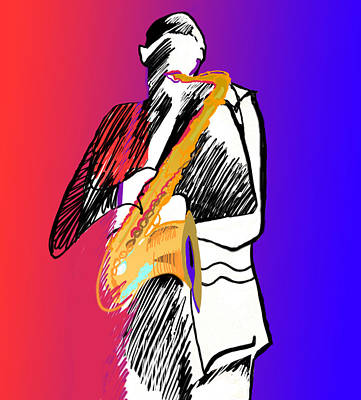 Digital Art - Saxophone Player by Suzanne Cerny