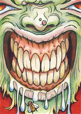 Zombie Drawing - Say Cheese by Amy S Turner