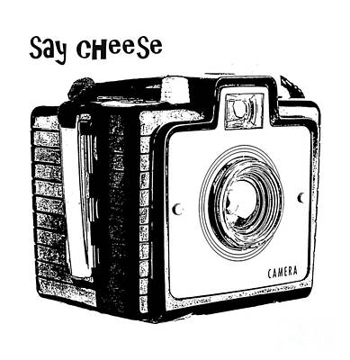 White T-shirt Photograph - Say Cheese Old Camera T-shirt by Edward Fielding