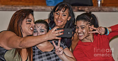Photograph - Say Cheese Pro Wrestlers Ruby Raze, The Fallen Flower, Kahmora And Nicole Savoy by Jim Fitzpatrick