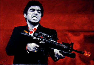 Crime Drama Movie Painting - Say Hello To My Little Friend  by Hood alias Ludzska