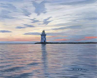 Saybrook Breakwater Light Art Print by Bruce Dumas