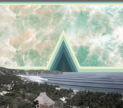 Sayulita Swell Green Pyramid  Art Print by Lori Menna