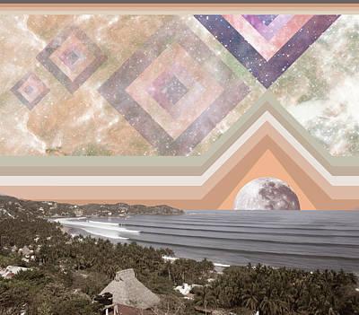 Sayulita Swell Moon Rise Art Print by Lori Menna