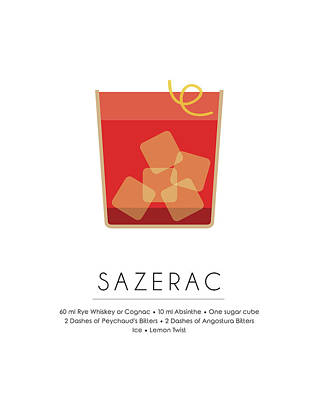 Champagne Mixed Media - Sazerac Classic Cocktail Minimalist Print by Studio Grafiikka