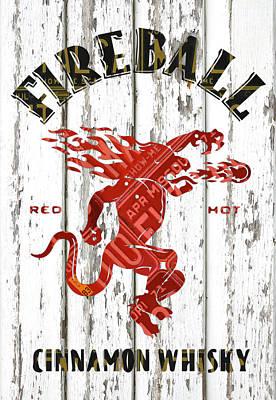Dragon Mixed Media - Sazerac Fireball Whisky Dragon Logo Missouri License Plate Art by Design Turnpike