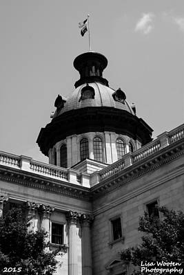 Photograph - Sc State House Dome Black And White by Lisa Wooten