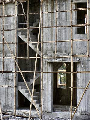 Scaffolds And Stairs Art Print by Kathy Daxon