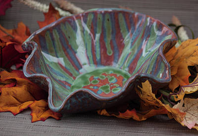 Ceramic Art - Scalloped Bowl With Chun Plum Seaweed Textured Turquoise And Blue Rutile Drips by Suzanne Gaff