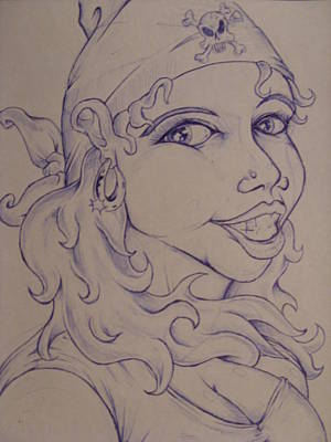 Gold Earrings Drawing - Scallywag by Michael Toth