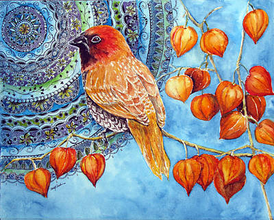 Chinese Lanterns Painting - Scaly Breasted Munia by Susy Soulies
