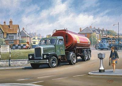 Tanker Wall Art - Painting - Scammell Tanker. by Mike Jeffries