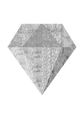 Scandinavian Silver Diamond Art Print by Ugur Sarac