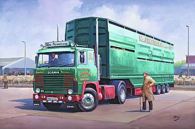Painting - Scania Sheep Wagon. by Mike Jeffries