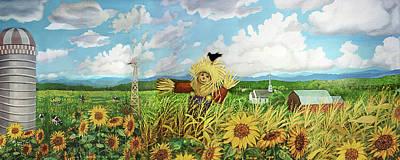 Scare Crow And Silo Farm Art Print