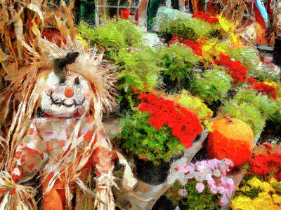 Scarecrow And Colorful Mums Art Print