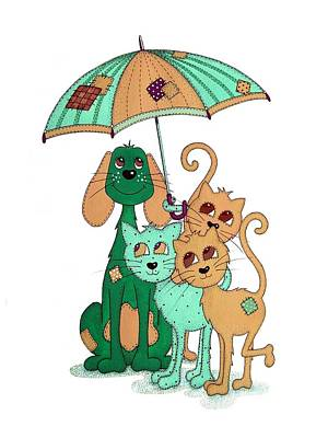 Rain Drawing - Scarecrow Dog Cats And Brolly by Sandra Moore