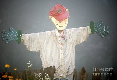 Scarecrow In Fog Art Print by Diane E Berry