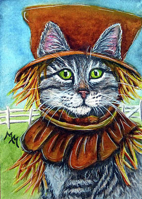 Painting - Scarecrow Tabby by Monique Morin Matson
