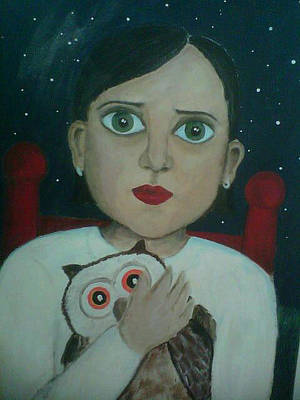 Painting - Scared Girl With Owl by Aimee Fields
