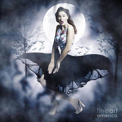 Scared Young Woman In Eerie Halloween Forest  Art Print