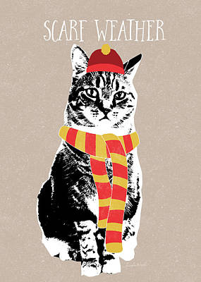 Scarf Weather Cat- Art By Linda Woods Print by Linda Woods