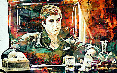 Scarface Mixed Media - Scarface by Sampad Art