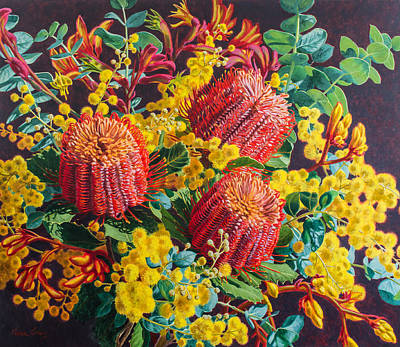 Australian Flowers Painting - Scarlet Banksias And Wattle by Fiona Craig