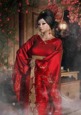 Digital Art - Scarlet Empress by Rachel Dudley