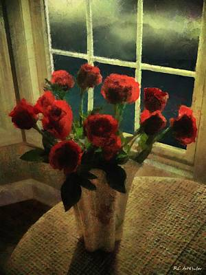Painting - Scarlet For A Stormy Night by RC deWinter
