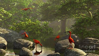 Ibis Digital Art - Scarlet Ibis by Diana Voyajolu