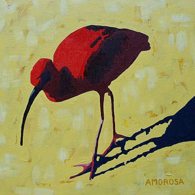 Yellow Beak Painting - Scarlet Ibis by Donald Amorosa